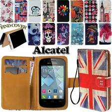 Folio Stand Card Wallet Leather Cover Case For Various Alcatel One Touch Phones