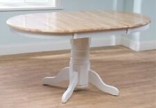 Country Farmhouse Dining Table Oval Round Kitchen Pedestal Wood Leaf Wooden Oak