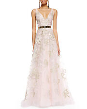 $11,290 New Oscar de la Renta Blush Pink Gold Bow Embelllished Organza Gown 8