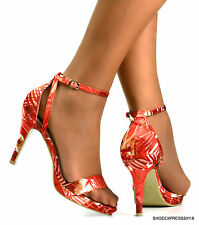 WOMENS LADIES RED CORAL MULTI COLOUR PRINT HIGH HEEL ANKLE STRAP SUMMER SHOES