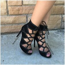 BLACK LACE UP HIGH HEELS CAGED PEEP TOE OPEN STILETTO PLATFORM PUMPS ANKLE NEW