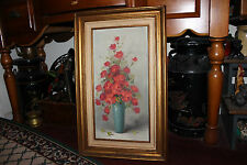 Superb Red Roses In Vase Oil Painting On Canvas-Signed Blaine-Framed-Detailed