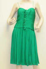 $2900 New Oscar de la Renta Geo Pleated Spaghetti Strap Dress Green DRESS 6