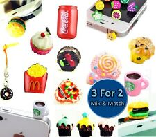 Food Universal Dust Plug Caps Mobile Phone Tablet Charm Case Cover Accessories
