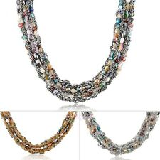 Hand Weaved Crystal Beads Braid Choker Necklace Vogue Bohemian Style N1354N1356