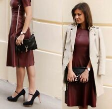 NWT ZARA 2015 WOMAN MAROON Leather Effect Layered Skirt Dress R.2969/044 XS S M