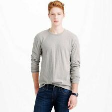NEW MEN'S S M L J CREW LONG SLEEVE TEXTURED COTTON TEE SHIRT - LIGHT DUSK GRAY