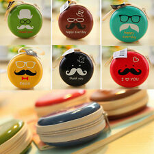 Best Metal Round Mustache Earphone Key Coin Case Storage Bag Pouch Earbud Wallet