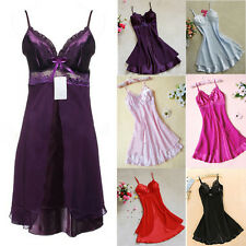 Cozy Women Silk Lace Nightgowns Chiffon Spaghetti Straps Sleepwear Robes EFUS