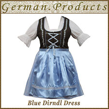 German Bavarian Oktoberfest Trachten 3 Pcs Blue Dirndl Dress ,US Sizes : 4 To 18