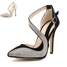 Womens High Heels Pointed Toe Cut Out Buckle Pumps Crystal Splice Wedding Shoes