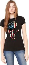 American Flag Skull Womens T Shirt Patriotic Distressed Ole Glory