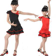 Colors Kids Childrens Latin Salsa Ballroom Dance Dress Girls Dancewear Costumes