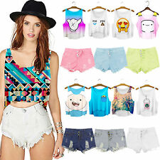 Women Loose Cartoon Print Crop Top Tank Tee Blouse Plus Size Denim Shorts & Vest