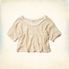 Hollister Women River Jetties Lace Crop Top Cream M L