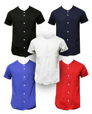 Blank Plain Baseball Jersey Button Up Down T-Shirt - Multiple Solid Colors