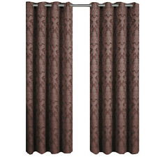 "Blair Chocolate 108x63"" Woven Jacquard Grommet-Top Curtain Panel (Set of 2)"