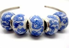 Fashion Blue Flower Porcelain Silver Core Bead Fit European Charm Bracelet