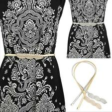 Women Metal Thin Belt Leaves Clasp Front Stretch Elastic Excellent Waistband