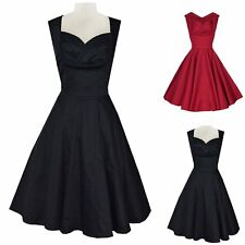 WOMENS 40's 50's RETRO VINTAGE FLARED ROCKABILLY EVENING TEA DRESS SWING SKATERS