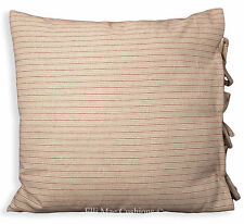 Shabby Chic Red Beige Striped French Ticking Fabric Cushion Pillow Cover