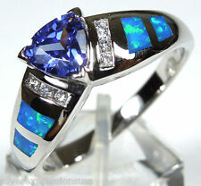 Trillion Tanzanite & Blue Fire Opal Inlay  925 Sterling Silver Ring size 7 - 9
