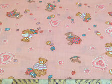 Discount Fabric Quilting Cotton Teddy Bears Pink 039CT