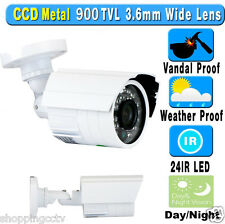 900TVL Outdoor Bullet Security Camera 3.6mm Wide Angle Day Night Vision AC Power