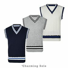 Mens Stripe Sleeveless V Neck Vest Cricket Classic Cable Knitted Tank Top S-XL