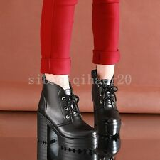 New Fashion Lady Casual Elegant Lace Up Faux Leather Pump Shoes Ankle Boots Size