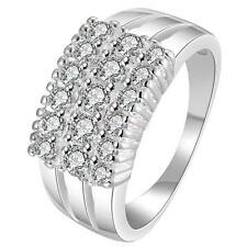 Women Bridal Wedding Party .925 silver Plated & Zircon Finger Ring Jewelry Gift