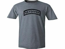 Skydiver free fall parachute distressed look customized gray top t-shirt