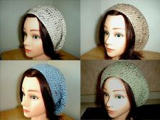 >><> CREAM Buff BLUE Green FLECK Handmade Crochet SLOUCHY Beret Tam HATs Knit