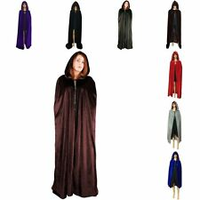 Adult Hooded Cloak Cape Velvet Halloween Christmas Fancy Cosplay Dress Costume