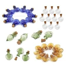 10 Clear Tiny Glass Vials Cork Jars Bottles DIY Pendants Various Color/ Shapes