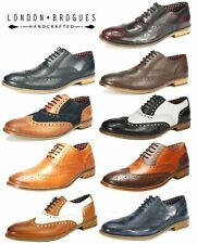 London Brogues Mens Leather Lace Up Wingtip Formal GATSBY Evening Brogue Shoes