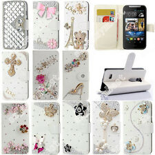 Fashion Bling Diamond Crystal PU Leather Card Wallet Case Stand Cover For HTC