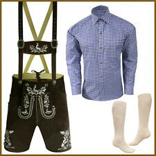 Authentic German Bavarian Oktoberfest Short Lederhosen Shirt Socks Package GP449