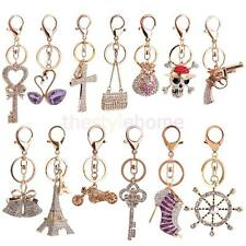 3D Crystal Rhinestone Keyring Charm Pendant Purse Bag Key Ring Chain Keychain