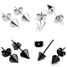 2x Black Silver Stainless Steel Spike Taper Beads Men Earring Ear Stud Cool Gift