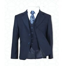 New Boys 5 PC All in One Navy Blue Boys Suit Page Boy Communion Wedding Suits