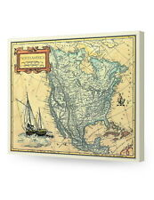North America old map, Giclee print decoration. Stretched Canvas Museum Wrapped.