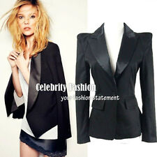 bb3 Celebrity Style STRONG SHOULDER Padded Tuxedo Black Fitted Boyfriend Blazer