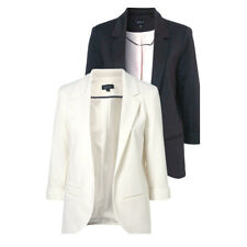 bw10 Celebrity Style Padded Shoulder Jersey Loose-fit Boyfriend Blazer Jacket