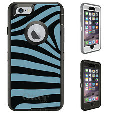 CUSTOM OtterBox Defender for iPhone 6 6S PLUS Black Blue Zebra Skin Stripes