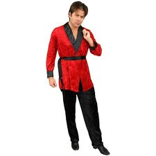 Red Smoking Jacket Adult Mens Playboy Bachelor Halloween Costume Std/Plus Sizes