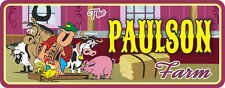 Personalized Farm Sign with Farmer, Horse, Pig, Cow, Rooster & Sheep C1058