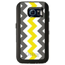 CUSTOM OtterBox Defender Case for Galaxy S5 S6 S7 Grey Yellow Chevron Stripes