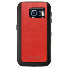 CUSTOM OtterBox Defender Case for Galaxy S5 S6 S7 Red Leather Texture
