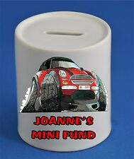 PERSONALISED MINI CAR MONEY BOX KOOLART GIFT ANY NAME MESSAGE COLOUR